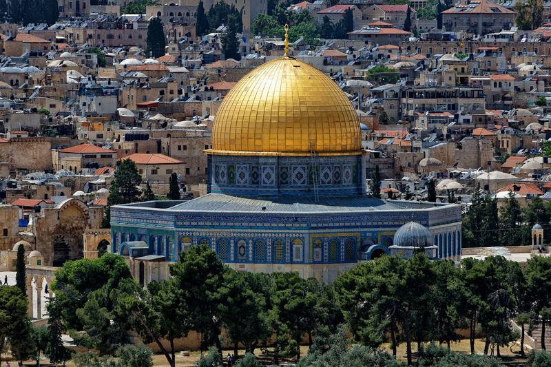 of the Rock. Dome Of The Rock. Historycal Place Jerusalem. Architecture Belief Building Building Exterior Built Structure City Cupola Day Dome Gold Colored Historical Palestine History History Architecture History Place Israel Nature No People Outdoors Place Of Worship Religion Spirituality Tourism Travel Travel Destinations Tree