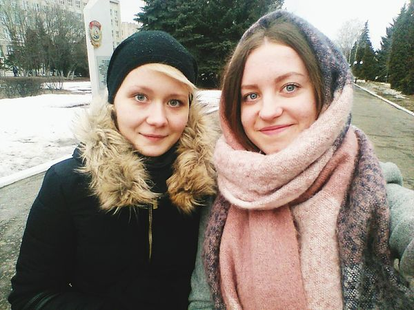 Friendship is a single soul dwelling in two bodies😃 People Real People Girl Russian Girl Looking At Camera Togetherness Outdoors Friendship Best Friends Two People Real People, Real Lives Blond And Brown Hair