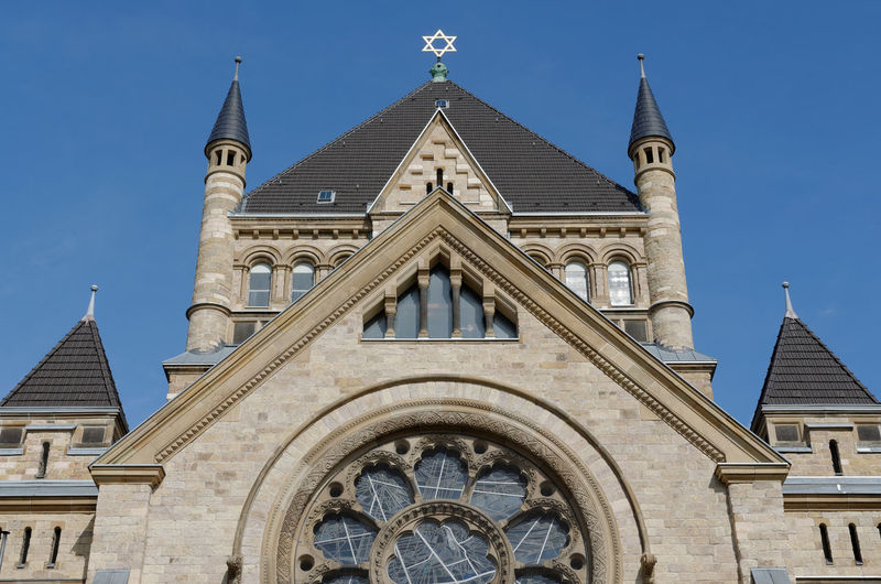 Low angle view of synagogue against sky