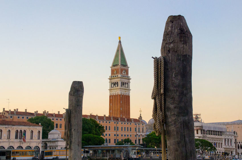 Canal Dusk Europe Evening Italy San Marco Sky Sunset Tower Venice, Italy Water Wooden Posts
