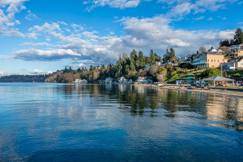 A view of the shoreline in Dash Point, Washington. Washington State Architecture Beauty In Nature Building Exterior Built Structure Cloud - Sky Dash Point Day Homes Landscape Nature No People Outdoor Outdoors River Scenics Sea Sky Tranquility Tree Water Waterfront