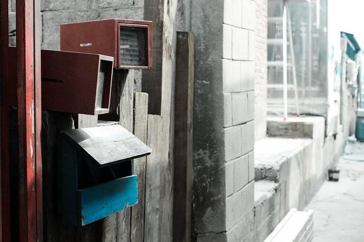 Mail Box Streets Seoul_korea Red And Blue