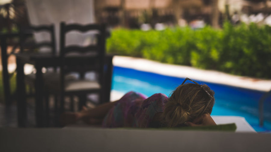 Relaxing Day Focus On Foreground Nature One Person Outdoors People Real People Rear View Swimming Pool Vacations Water Women