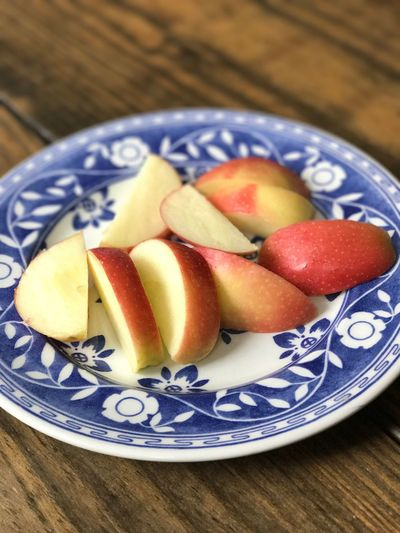 Breakfast!! Delicious Organic Gala Apple Blue Plumbago Red White And Blue Fruit Photography Red Apples Gala Apple High In Fiber Simple Photography New To EyeEm Organic Apple Organic Apple Day Ready-to-eat Close-up Blue No People Table SLICE Indoors  Food Freshness Food And Drink Healthy Eating Plate Fruit