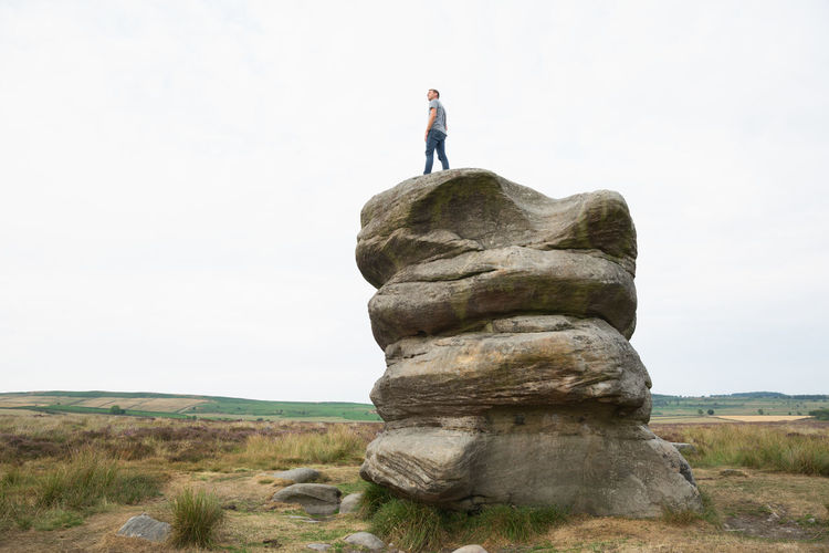 Bakewell, United Kingdom Baslow Edge Derbyshire On Top On Top Of The World Peak District Northern England Climbing Eagle Stone England Landscape Lifestyles Nature One Person Outdoors Peak District  Rock Rock - Object Rock Formation Scenics - Nature Tranquility