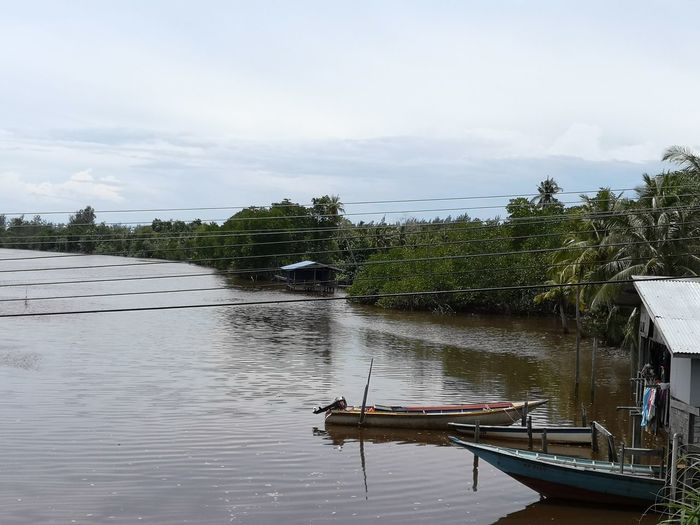 River View Sky House Malay Calm Relaxing Wooden Wood - Material Borneo River View Borneo Sabah No People Sky Outdoors Day Kampung Life Kampung Life Sabah Borneo Tree Water Nautical Vessel Moored Lake Pedal Boat Sky Cloud - Sky Wooden Raft Stilt House Coconut Palm Tree Fishing Boat Kayak Water Vehicle Tropical Tree Fishing Industry