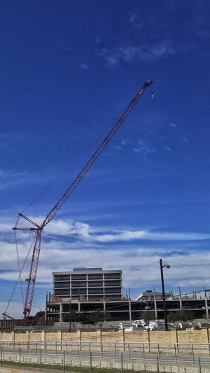 Sky Outdoors Blue Day No People Space Crane Cranes And Construction Crane - Construction Machinery Red Red Crane Clouds