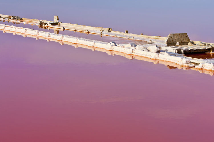 Low angle view of pink water against blue sky