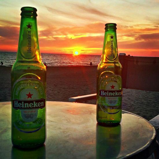 Relaxing Sun ☀ Beer Heineken Sunset Sunsetporn Sunsetcollection Summer Aperitive