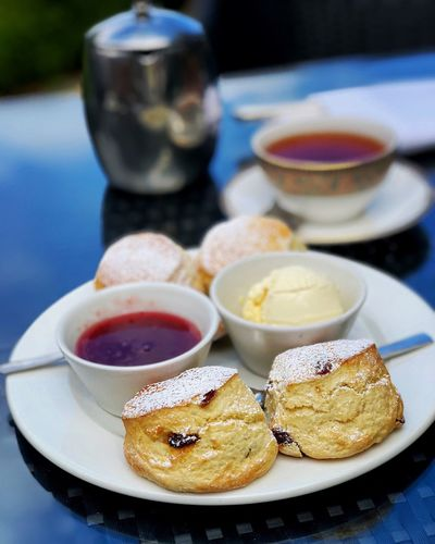 Cream Tea Food And Drink Plate Food Freshness Table Ready-to-eat Sweet Food Close-up Focus On Foreground No People Sweet Healthy Eating Still Life Dessert Wellbeing Indoors  Indulgence Drink Serving Size Refreshment