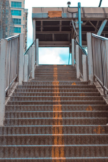 Low angle view of empty staircase of building