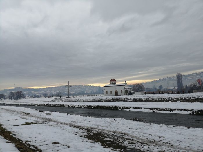 Snow Sky Winter Cold Temperature Cloud - Sky Nature Architecture Built Structure Building Exterior Beauty In Nature Scenics - Nature Land Field Covering White Color Water No People Frozen Outdoors
