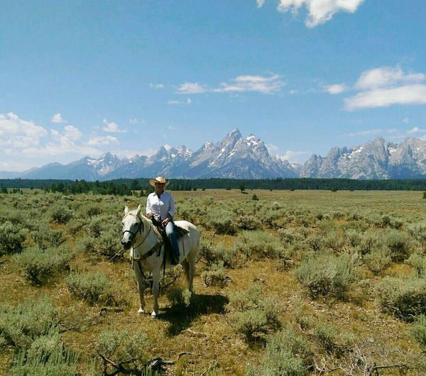 Wyoming Teton National Park Horseback Riding Sage Brush Mountains Ranch Life Peaks Cowgirls Solitude Horse Named Dove No One For Miles Sky And Sagebrush Peaks And Sagebrush