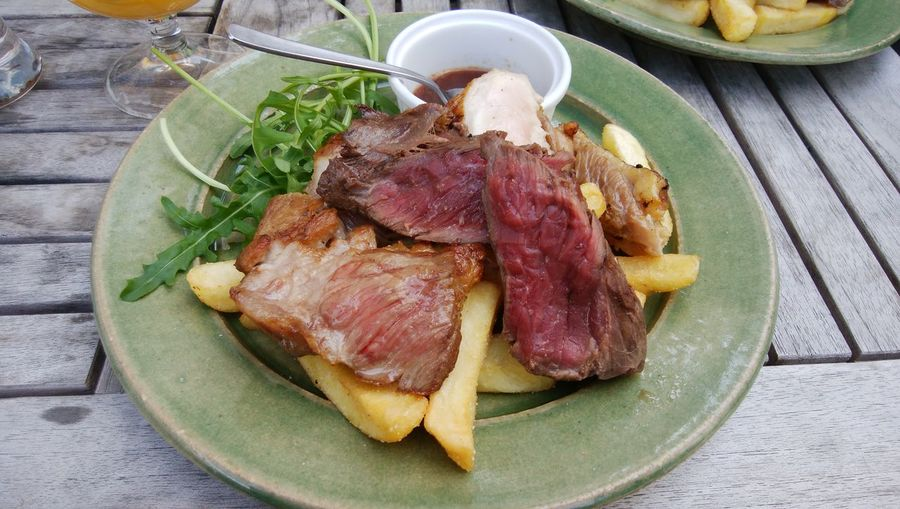 Plate Meat Table High Angle View SLICE Still Life Close-up Food And Drink Serving Dish Food Styling Fried Fried Potato