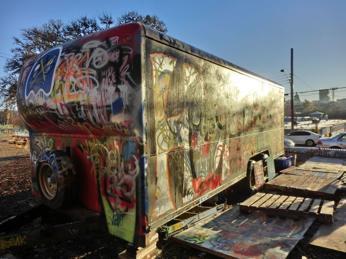 Graffiti Day Land Vehicle No People Outdoors Sky Trailor Transportation