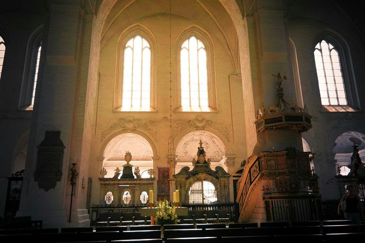 Church Old Lübecker Dom Glass Bright Sunny Inside Feeling