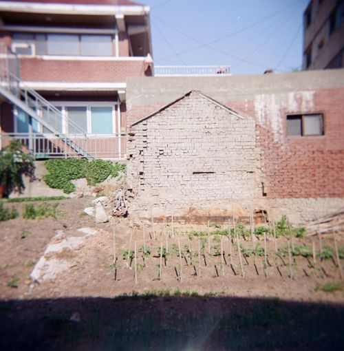 a remained site Filmphotography Lomography Color Negative 400 Holga120 Architecture Built Structure Building Exterior Building Day Residential District No People House City Sunlight Plant Wall Sky Old Roof Wall - Building Feature Outdoors