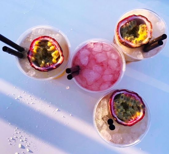Drinks Strawberries Ice Passion Fruits Beachparty Summer Views Food And Drink Bowl Table High Angle View Indoors  Freshness Directly Above Drink No People Drinking Glass Alcohol Day