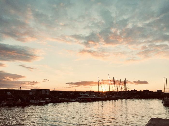 Harbor Summer Harbor View Clouds And Sky Water Sky Cloud - Sky Sunset Nature Beauty In Nature No People Sea Silhouette Scenics - Nature Tranquility Nautical Vessel Harbor Sailboat Tranquil Scene Waterfront Outdoors Transportation