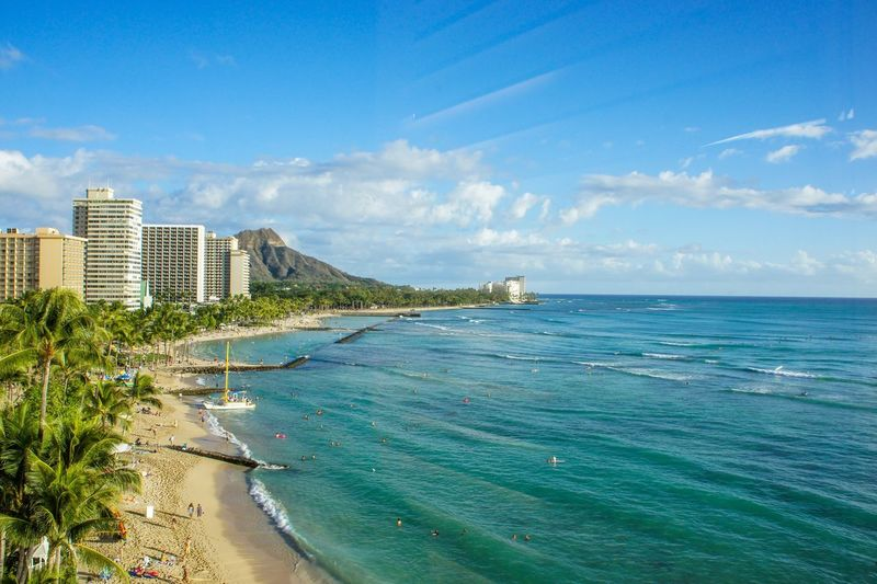 Sea Sky Architecture Water Cloud - Sky Beach Horizon Over Water Day Scenics Built Structure Nature Blue Building Exterior Beauty In Nature Outdoors Travel Destinations Tranquil Scene No People Tranquility Skyscraper USA Roadtrip Honeymoon Hawaii Diamondhead