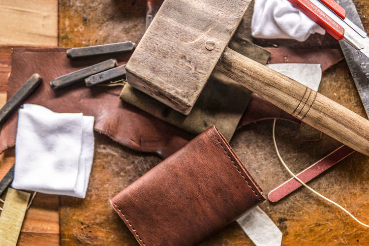 Close-up of leather materials in workshop