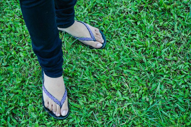 Low Section Of Woman Wearing Flip-Flop Standing On Grassy Field