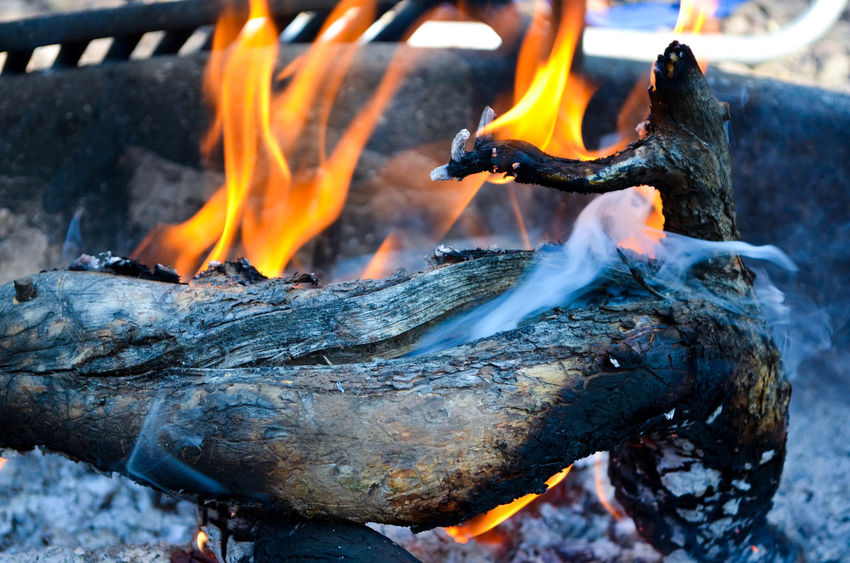 Burning Campfire Fire Fire Pit Flame Log Motion No People Outdoors Smoke - Physical Structure