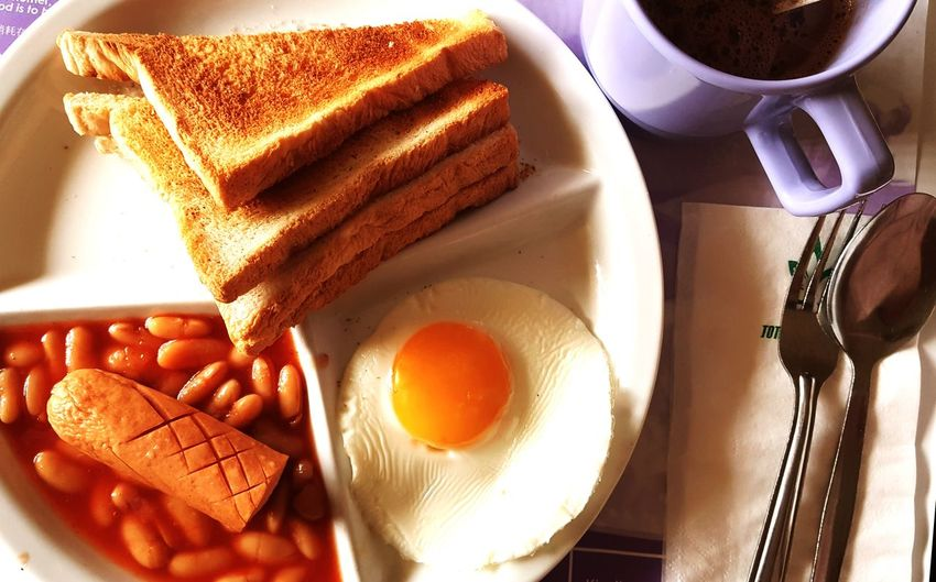 Hospital Food Mobilephotography EyeEm Selects Egg Yolk High Angle View Egg Plate Table Directly Above Close-up Food And Drink Breakfast Served Fried Egg Toast English Breakfast Sunny Side Up Toasted Bread Baked Beans