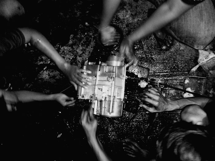 People Together Human Hand Human Meets Technology People Working Together Engine Repair Togetherness Maximum Closeness