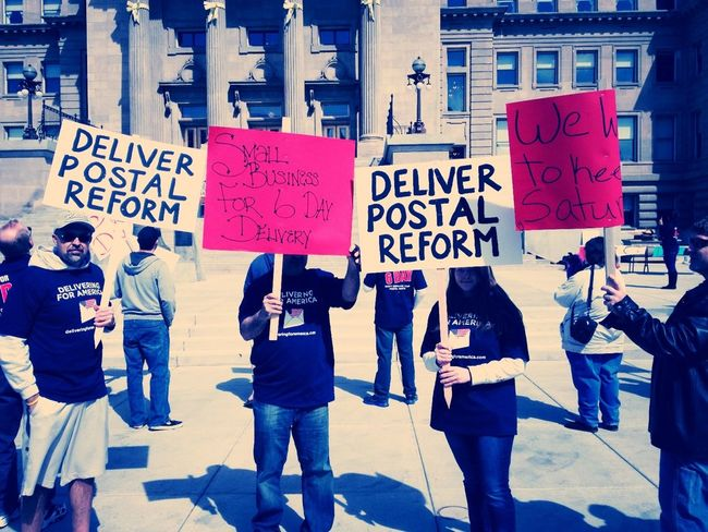 Rally for 6 days of postal service right now!!! #deliveringforamerica supports HR630 #treefort2013