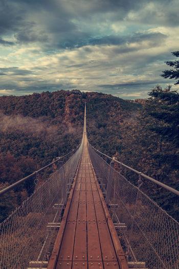 Footbridge midst trees against sky