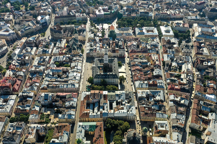 High angle view of buildings in lviv