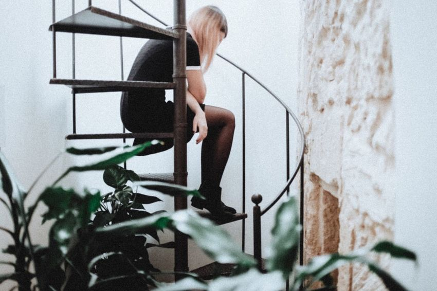 EyeEm Selects Composition Atmosphere Light One Woman Only Indoors  Rear View People Natural Light Girl Atmospheric Mood FujiX100T Young Women Long Hair Stairs Nature Home Interior Model The Week On EyeEm