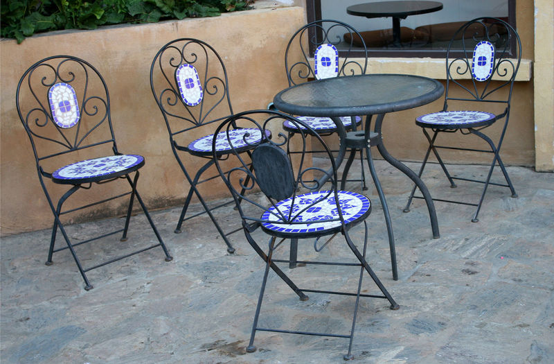 Out door tables and chairs set Chair Wicker Backyard Outdoor Cafe Ceramic Steel Iron Table Floor Bar Paris Patio Seat Restaurant Summer Outside Balcony Modern Armchair Wood Rest Furniture Rattan Garden Design Architecture Set Table Plant Home Terrace Set Plantpot House Hotel Office Gazebo Relaxation Glass Flooring Setting Pattern