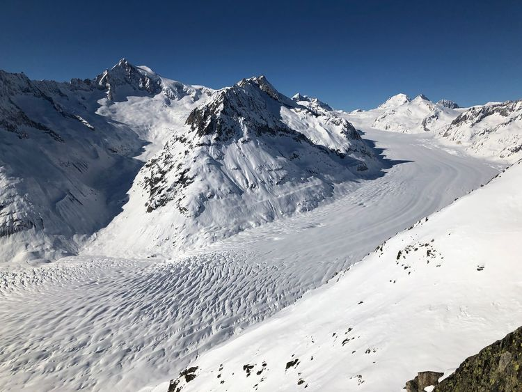 Glacier d'Aletsch Ice River Clear Sky Outdoors No People Snowcapped Mountain Tranquility Mountain Range Sky Tranquil Scene