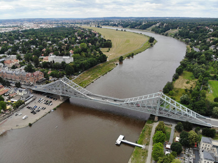 High angle view of bridge over river in city