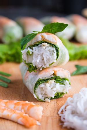 Asian Food Focus On Foreground Food Food And Drink Freshness Garnish Greek Food Healthy Eating Indoors  Japanese Food Meal Ready-to-eat Rice Rolled Up Seafood Selective Focus SLICE Snack Still Life Sushi Temptation Vegetable Vietnamese Rolls Wellbeing