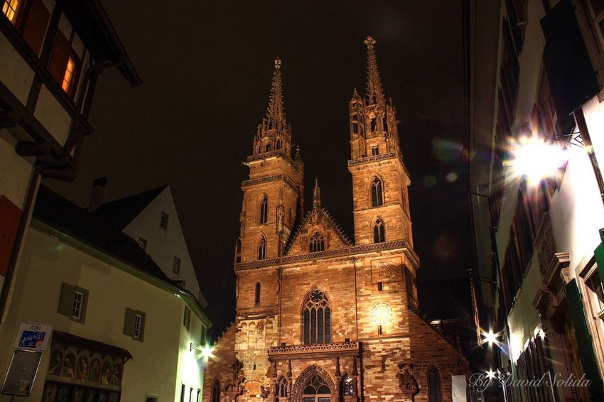 Münster by Night Architecture Place Of Worship Built Structure Travel Destinations Night City Photography Canonphotography Basel, Switzerland