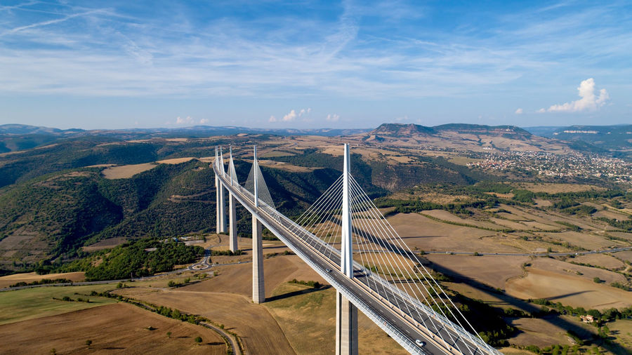 High angle view of bridge against sky
