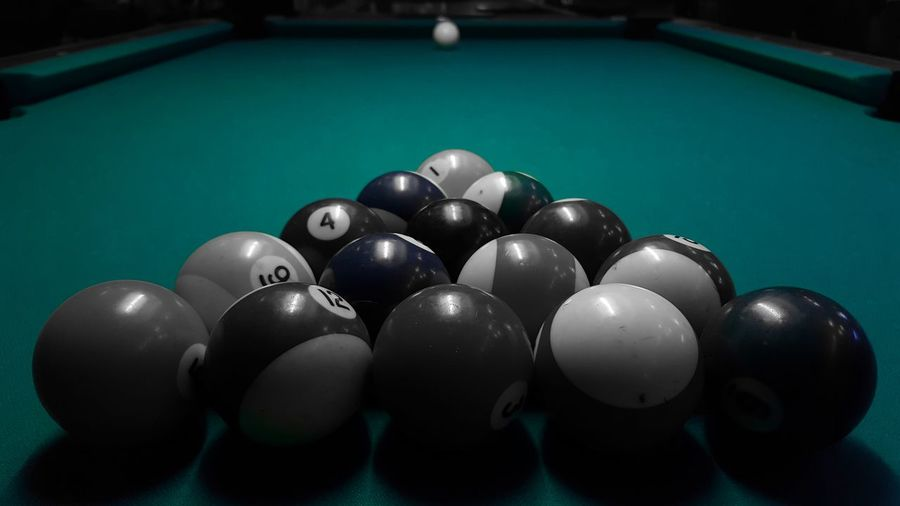 Snooker balls arranged on table