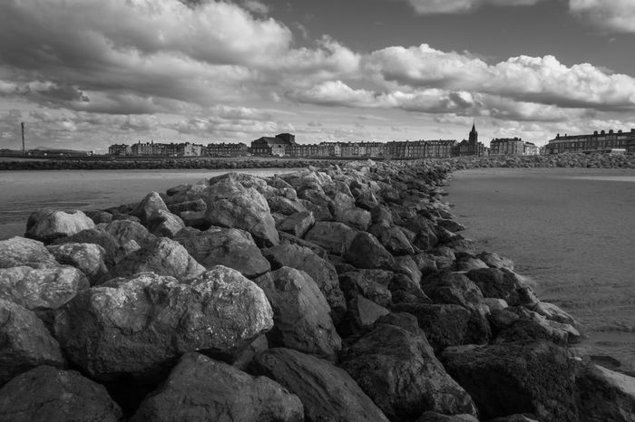 Rocky Barrier Architecture Beauty In Nature Built Structure Cloud - Sky Day Groyne Horizon Over Water Morecambe Nature No People Outdoors Pebble Beach Rock - Object Scenics Sea Sky Tranquil Scene Tranquility Water