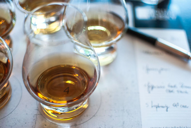 High angle view of whiskey in glasses on table in bar