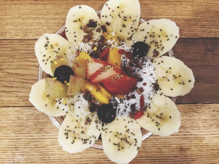 Healthy food! Banana Chia Seeds Acai Berry Grapes Blueberry Fruits Healthyfood Healthy Stay Healthy Low Calorie Food Diet Fiber IPhoneography Coconut Dessert Hungry Eat More Fruit Eating Healthy Lifestyle Granola Mango Mix Fruits Art Design