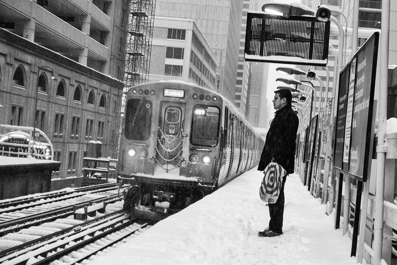 Scenes from the l Streetphotography Blackandwhite Winter Chicago Rail Transportation Public Transportation Train - Vehicle Transportation Railroad Track Built Structure Mode Of Transport