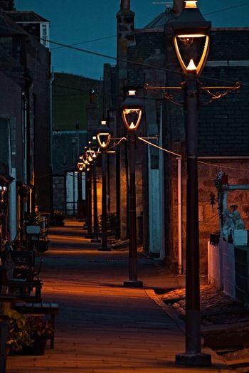 Footdee Night Illuminated Footdee Fittie Scotland Aberdeen No People Light Lamp Streetlight City Building Exterior