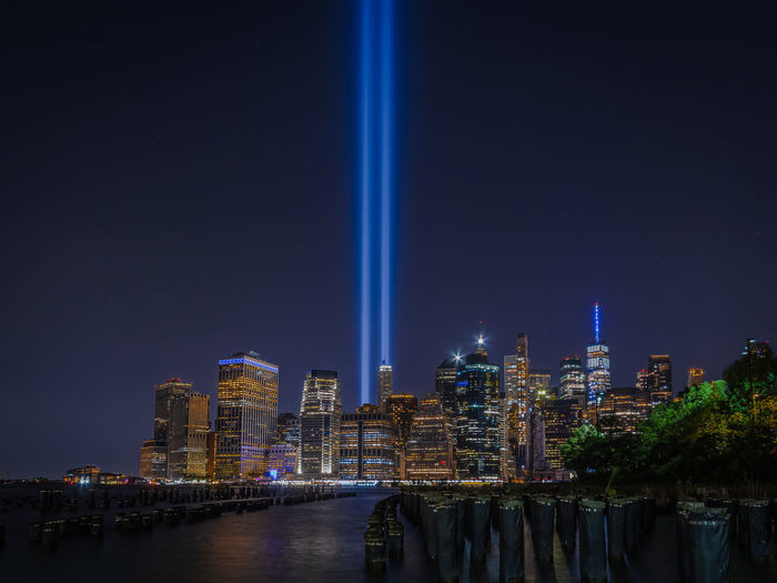 Illuminated buildings nyc september 11