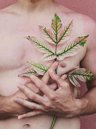 Midsection of shirtless man holding plant