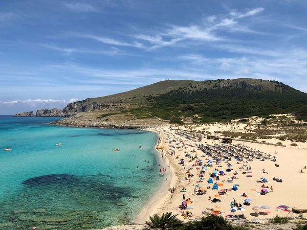 Cala Mesquida bay Water Beach Sea Sky Land Nature Large Group Of People Day Vacations