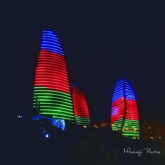 EyeEm Nature Lover EyeEm Best Shots Baku Azerbaijan Illuminated Low Angle View Multi Colored Lighting Equipment Night No People Sky Architecture Neon Outdoors Travel Journey Traveling Flametowers First Eyeem Photo People City Town Tourist Day Travel Destinations