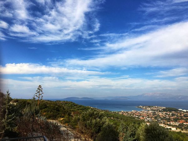 Sky Cloud - Sky Architecture Building Exterior Mountain Nature Scenics Tranquility No People Day Beauty In Nature Blue Outdoors Built Structure Sea Landscape Tranquil Scene Town Water Cityscape Çeşme İzmir Türkiye